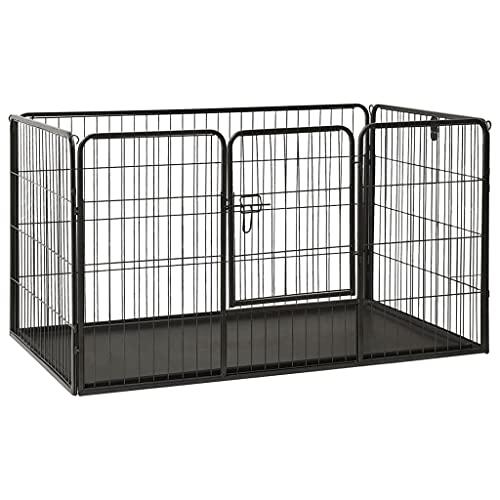 vidaXL Parc pour Chiots Acier 125x80x70 cm Enclos Extérieur pour Chiots Cage