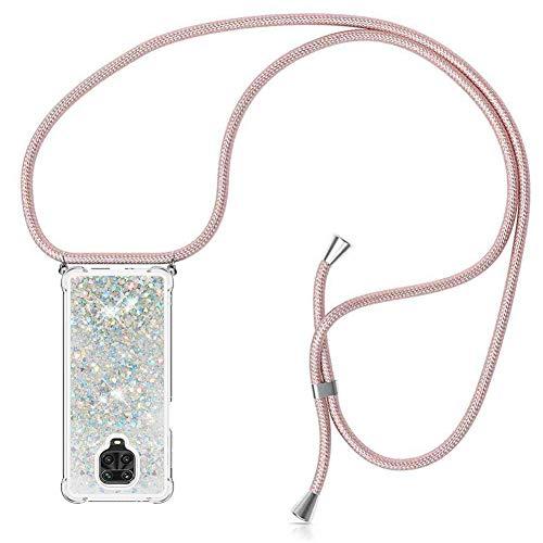 ZHXMALL Funda con Cuerda para Xiaomi Redmi Note 9,Brillante Glitter liquida Transparente Suave TPU Silicona Case [Anti-rasguños Anti-Choque],Ajustable Collar Carcasa Cover,Plata