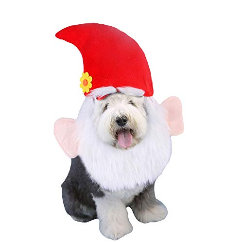FLAdorepet Santa Claus Mustache Dog Hat Christmas Pet Cat Costume Dressing Up for Small Medium Dog (Red)