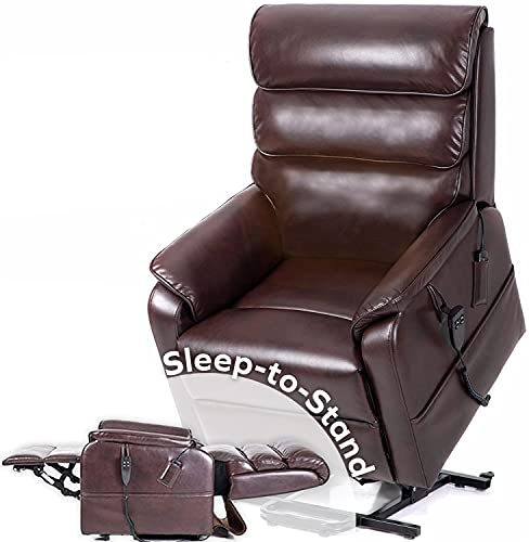 FirstClass Sleep-to-Stand Lift Chair, Perfect Chair for Sleep/Relaxation. True Lay-Flat Sleeping Recliner. 2 Motor for Independent Back and Foot Adjust. Incl Heat and Massage (Brown)