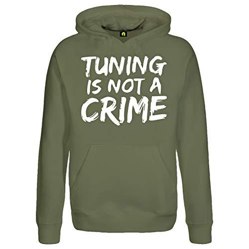 Tuning is Not A Crime Kapuzenpullover | Motorrad | Auto | Scooter Roller | Quad Militär Grün 2XL