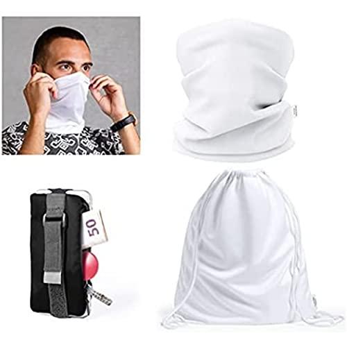 4 accesorios deportivos innovadores: protector para cuello buff multifunción antibacteriano. Portamonedas, running. Mochila antibacteriana. Cordón para gafas.