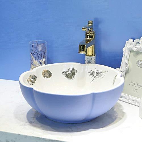 Hiwenr bloem blauw bad snoepjes Chinese kunst top keramiek wastafel kast wastafel