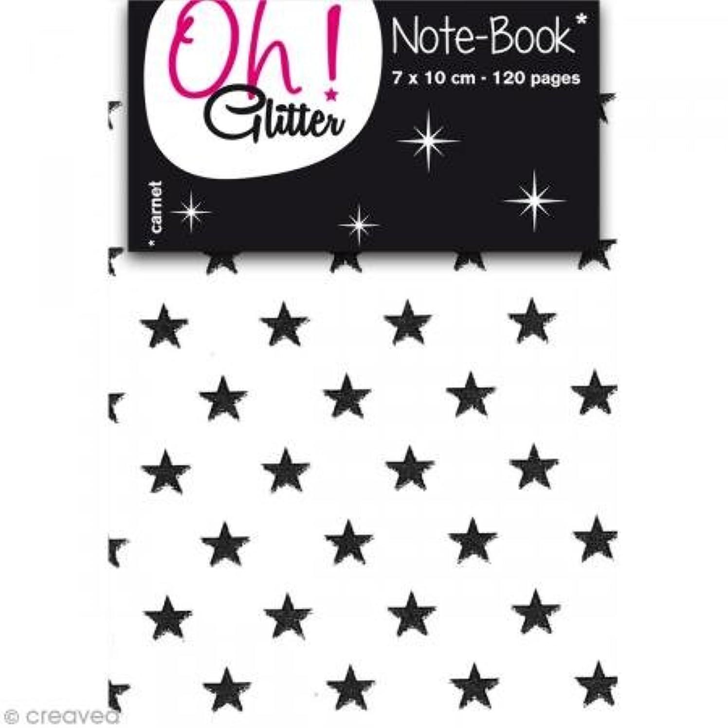 Oh ! Glitter Shimmer Mini Notebook, Paper, 7?x 10?x 1?cm Black