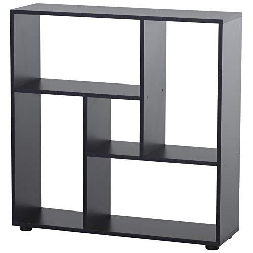 HOMCOM 5 Units Storage Shelf Bookcase Home Display Square Frame w/Melamine Surface Foot Pads Living Room Bedroom Furniture Black