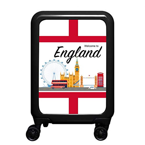 made2trade - Trolley Rigido da Viaggio, con Varie Stampe, 32 Litri, Colore: Nero, Inghilterra