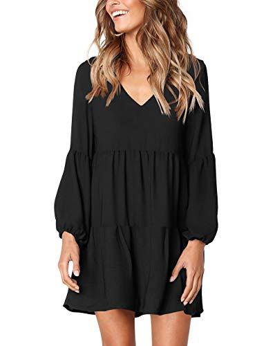 FOWSMON Vestido túnica para Mujer, Cuello en V, Cintura Imperial, Vestido Casual - Negro - XX-Large