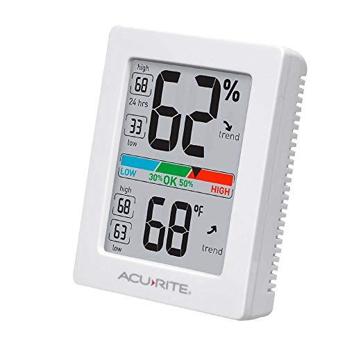ACURITE 01083 Thermomètre et hygromètre d'intérieur avec jauge d'humidité et calibrage de précision Pro New Version