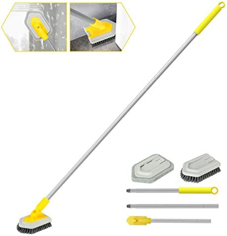 2 in 1 Cleaning Brush Tub and Tile Scrubber Brush Sponge with 46 Extendable Long Lightweight product image