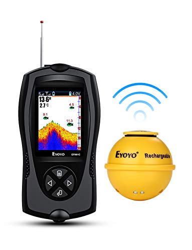 Eyoyo Portable Fish Finder 147 Feet(45M) Water Depth Sonar Sensor Transducer, 2.4' Color LCD Screen Alarm Sounder Fishfinder with Fish Attractive Lamp for Ice Boat Fishing