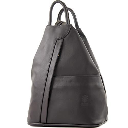 modamoda de - T180 - ital Borsa da donna zaino in nappa, Colore:dark Chocolate