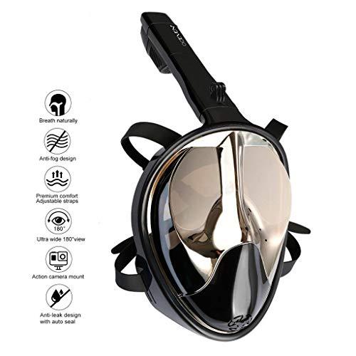 OCEVEN Tauchmaske, Easybreath Schnorchelmaske, Anti-Fog Anti-Leak 180° Sichtfeld Dichtung, aus Silikon Vollmaske, für Gopro Kamera Erwachsene - UV-Schutz (L/XL, Schwarz-Silber)