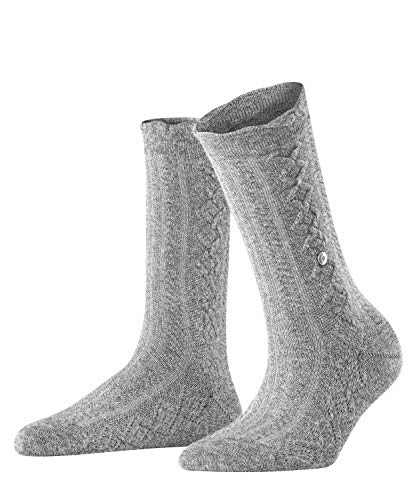 Burlington Damen Cable Boot Socken, grau (Light Grey Mel. 3390), Einheitsgröße (DE 36-41)
