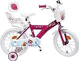 Bicicleta de 16 Pulgadas para niña Princess 2 Frenos portamuñecas AR + Casco Infantil, Multicolor, 16 Pulgadas