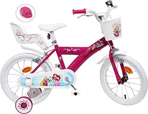 Kinderfahrrad, 16 Zoll, Mädchen, Prinzessin, 2 Bremsen, Puppenhalterung hinten + Helm, Mehrfarbig, 16 Zoll