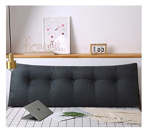 Headboard Reading Pillow Large Backrest Bolster Triangular Positioning Support Wedge Cushion for Day Single Bed with Removable Cover, Cotton linen (Color : Dark Gray, Size : 80cm)
