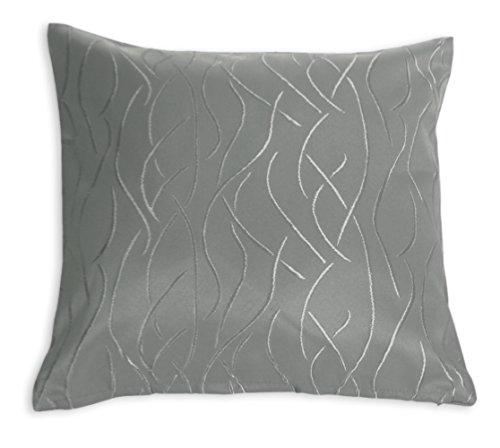 Kissenhülle Damast Streifen Muster Kissenbezug 40x40 oder 50x50 cm Kissenbezug Deko modern (grau, 40x40 cm)