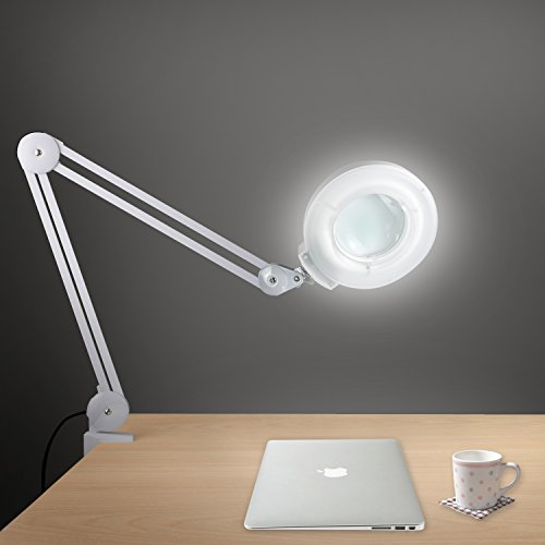 Magnifying Clamp Lamp Daylight Magnifier Lighted Lens Bright Magnifier Light for Desk Table Task Craft or Workbench (5X Magnifier - Adjustable Arm)