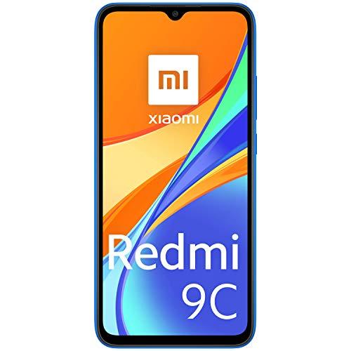 """Xiaomi Redmi 9C Smartphone, 2 GB + 32 GB, 6.53"""" HD+ Dot Drop Display 5000mAh (typ), 13 MP, con AI Face Unlock, Tripla Fotocamera, Blu (Twilight Blue)"""