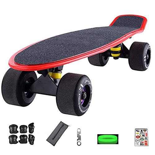Klzzuk Mini Skateboard de 22 '' Monopatín de Crucero Completo para Niños, Adolescentes, Jóvenes y Adultos, Skateboard para Principiantes Totalmente Ensamblado con Equipo de Protección (Rojo)
