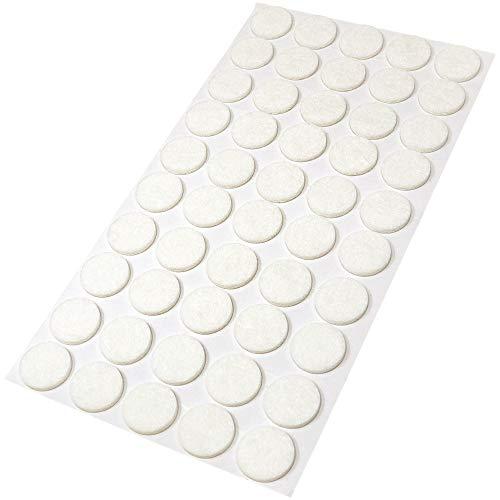 Adsamm® | 50 x Filzgleiter/Ø 20 mm/Weiß/rund / 3.5 mm starke selbstklebende Filz-Möbelgleiter in Top-Qualität