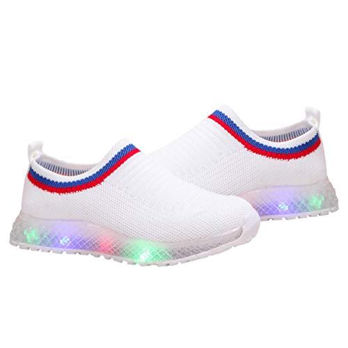 Happyyami Zapatos con Luz Transpirable para Niños Zapatillas de Tela con Flash Led para Niños Niñas Niños Pequeños para Cumpleaños Acción de Gracias Día de Navidad Blanco
