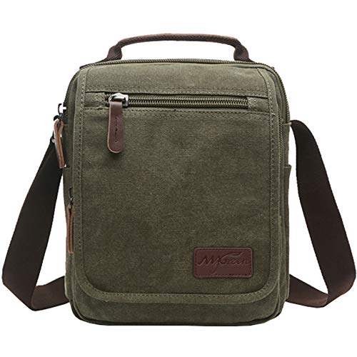 "Main Material: Made of high density cotton canvas and PU leather zips. It's a very durable shoulder bag. Canvas Messenger Bag Dimensions: 8.7"" L x 10.2"" H x 4.8""W, small capacity but perfectly fits up to 10"" Tablet, iPad, Kindle, you can use it as a ..."