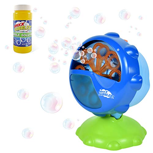 Sunny Days Entertainment Maxx Bubbles Automatic Bubble Machine – Durable Outdoor Bubble Blower for Kids | LED Light with Adjustable Angle for Parties