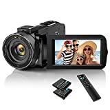 Video Camera Camcorder YouTube Camera for Vlogging Full HD 1080P 30FPS 36MP IR Night Vision 3.0 Inch IPS Screen 16X Zoom Digital Video Recorder for Outdoor/Home with Remote Control and 2 Batteries