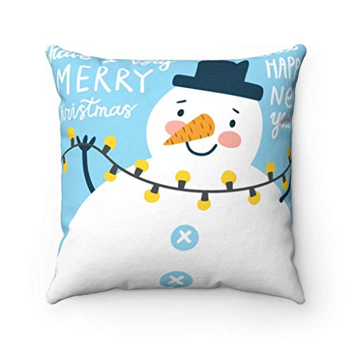 N\A Feliz Navidad y Feliz año Nuevo Navidad Funda de Almohada muñeco de Nieve Luces de Navidad Decorativa Almohada Cuadrada Funda de cojín Regalo