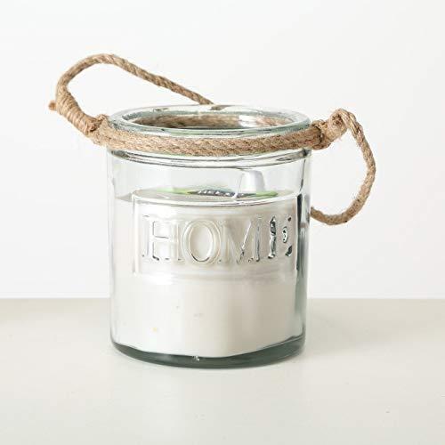 ReWu 3-Docht Kerze im Glas Dreidochtkerze Kerzentopf mit Kordel 17 x 14 cm Ø Creme, Grau