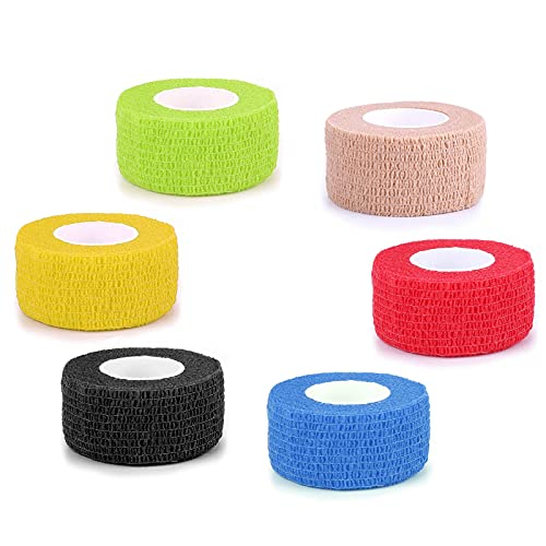 """Vet Wrap Self Adhesive Bandage Wrap 6 Packs 1""""x 5 Yards Cohesive Bandage Non-Woven Self Adherent Tape Rolls for Dogs Cats Horses Pet Athletic Elastic Sports Tape for Ankle Sprains & Swelling (Mix)"""