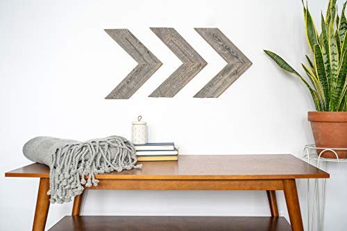 BarnwoodUSA Farmhouse Wood Arrows Wall - Set of 3 Rustic Chevron Arrows Made From 100% Reclaimed Recycled Wood | Comes Mounting Hardware