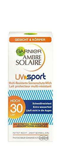 Garnier Ambre Solaire UV Sport Multi-Resistente Sonnenschutz-Milch, LSF 30, Outdoor Sonnencreme für Sportler, 50 ml