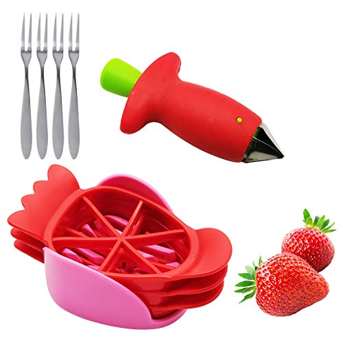 Listenman Strawberry Huller Stem Remover and Strawberry Slicer Set Strawberry Corer Cutter Slicer Kitchen Gadgets Tool for Kitchen DIY Platter Fruit Plate Dicing with 4 Stainless Steel Fruit Forks