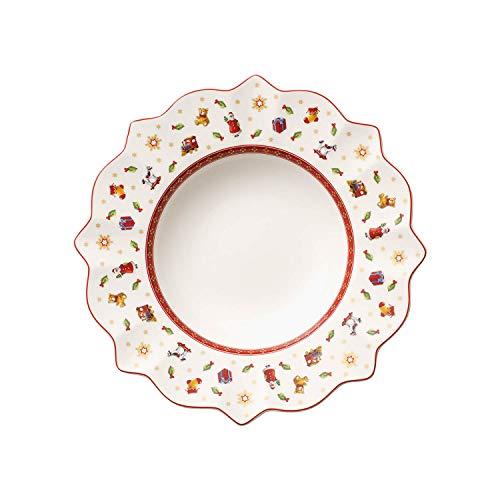 Villeroy & Boch Toy's Delight Assiette creuse, 26 cm, Porcelaine Premium, Blanc/Rouge