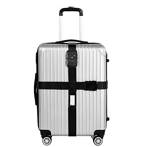 Kreuz Koffergurt mit Zahlenschloss TSA Kofferband Gepäckgurt Gepäckband Verstellbare Gepäck Straps für 22-32 Zoll Koffer Schwarz/Pink (Schwarz)