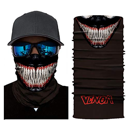jiazery QZ Unisex Multi Functional 50+ UV Protection Face Mask Skull 3D Printed Balaclava Headwear(Venom)