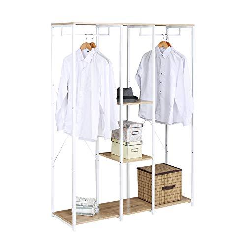 eSituro SGR0046 Kleiderständer Wäscheständer Garderobenständer Hängeregal mit Schuhregal Holz Metall Weißrohre und Eiche Platte …