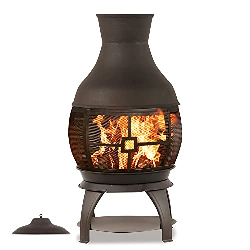 BALI OUTDOORS Wood Burning Chimenea, Outdoor Round Wooden Fire Pit Fireplace