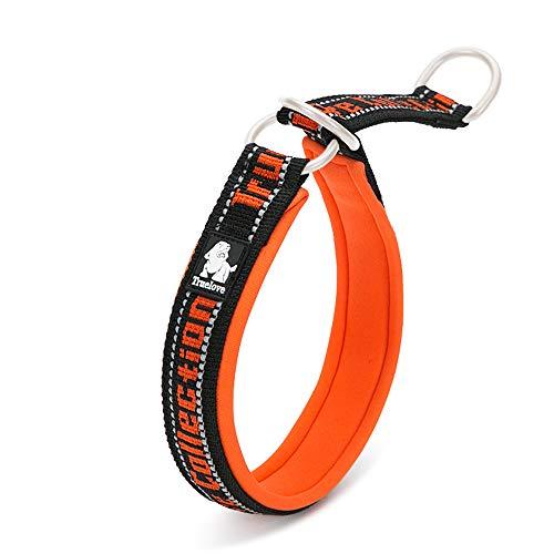 TRUE LOVE Soft Slip Dog Choke Collar Reflective Embroider Comfortable P-Chain Pet Collar for Large Medium Small Breed TLC5371