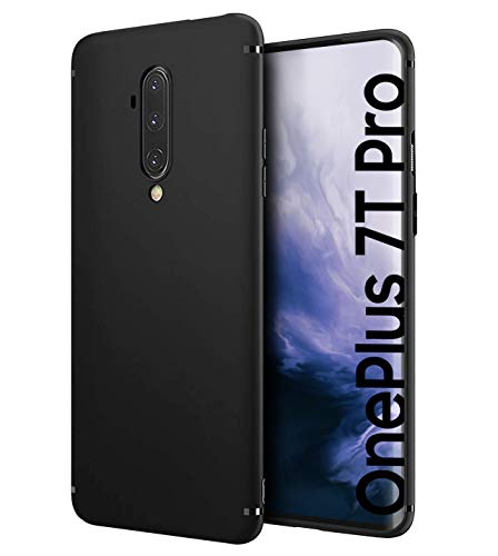 Schutzhülle Slim-Hülle kompatibel mit OnePlus 7T Pro [Matt-Schwarz] - Handyhülle aus Silikon - Premium Soft TPU Cover - Schützt vor Kratzer / Stößen - Schutz-Hülle hinten - Präzise Ausschnitte