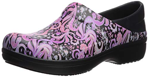 Crocs Women's Neria Pro II Clog | Slip-Resistant Work and Nursing Shoe, Black/Paisley Floral, 10 M US