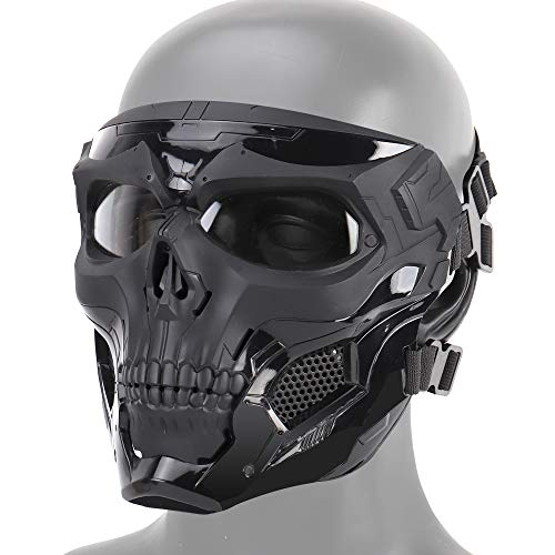 FOJMAI CS Games Jagd Taktische Messenger-Maske Airsoft Paintball Full Face Schutzmaske, Schwarz