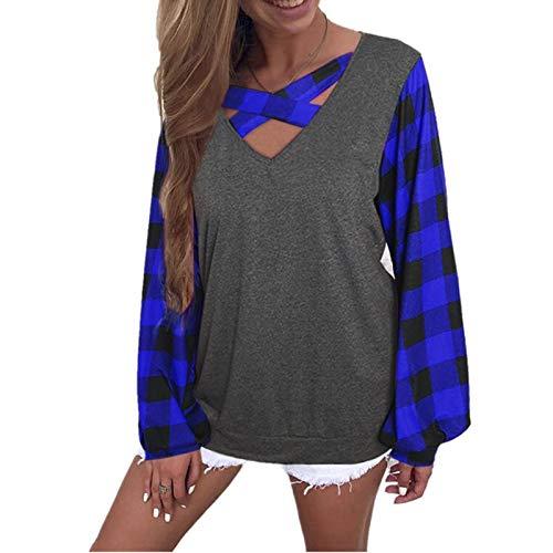 Damen Plaid Laterne Ärmel T-Shirt Top
