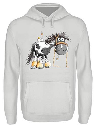 Happy Pinto Pferd Comic I Schecke Tinker I Modartis Pferde I Pony I Reiter Geschenk - Unisex Kapuzenpullover Hoodie -L-Sport Grey
