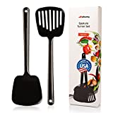 PIKANTY Spatula Turner Set of 2 for Cooking. Great for nonstick cookware. Heat Resistant Plastic. Ideal for Flipping Egg, Burger, Pancake and more. Made in USA