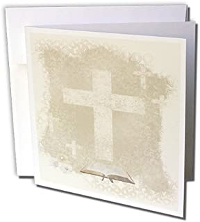 3dRose Crosses with Open Bible, Sepia - Greeting Cards, 6 x 6 inches, set of 6 (gc_180922_1)