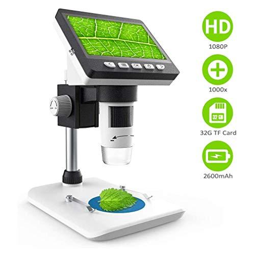 WXCC Microscopio Microscopio Digital LCD de 4,3 Pulgadas con Pantalla 1000X ampliación del Zoom de la Pantalla HD 1080P microscopios 8 Ajustable luz LED Microscopio Video para Windows PC