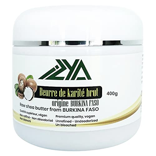 Beurre de karité brut non raffiné 400 g, non blanchi, non désodorisé - 100% naturel origine Burkina Faso- hydratant naturel pour les cheveux, corps, visage, lèvres, mains